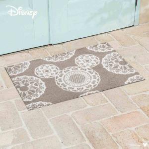 玄関マット Disney ディズニーMickey/ミッキー レース グレージュ 50×75cm|kobelongtail