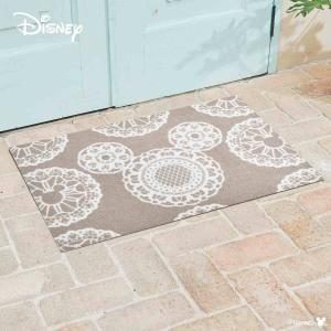 玄関マット Disney ディズニーMickey/ミッキー レース グレージュ 60×90cm|kobelongtail