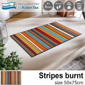 玄関マット 屋外 室内 洗える 滑り止め wash+dry Stripes burnt orange 50×75cm|kobelongtail