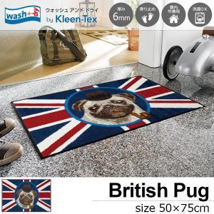 玄関マット 屋外 室内 洗える 滑り止め wash+dry British Pug 50×75cm|kobelongtail