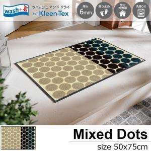 玄関マット 屋外 室内 洗える 滑り止め wash+dry Mixed Dots 50×75cm|kobelongtail