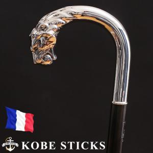 杖 つえ ステッキ おしゃれ フランス ファイエ社製 芸術的に美しいシルバーステッキ (カーボン×縞黒檀シャフト / ライオン曲がり)|kobesticks
