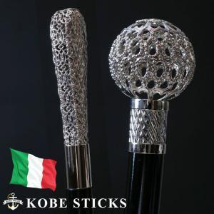 杖 つえ ステッキ おしゃれ  イタリア製 最上級のエレガンス シルバー・レース・ステッキ 専門店 男性 女性 高級 金属|kobesticks