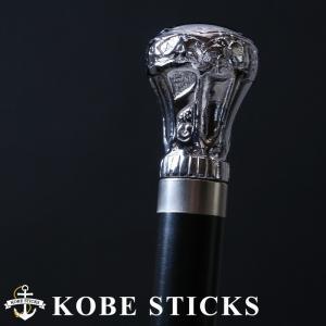 杖 つえ ステッキ おしゃれ 品の良い威厳をその手に 高級感×重厚感のシルバーヘッドステッキ 木製 高級 かっこいい 男性 紳士 介護|kobesticks