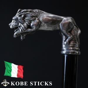 ステッキ 杖 つえ おしゃれ イタリア職人によるピューター製ステッキ(ジャンプするライオン) 専門店 木製 高級 銀 男性 女性 介護 金属|kobesticks