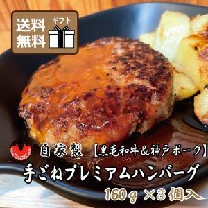 ハンバーグ  送料無料 グルメ 黒毛和牛 神戸ポーク 自家製 手ごね プレミアム 冷凍 お土産 おすすめ|kobeusunaga