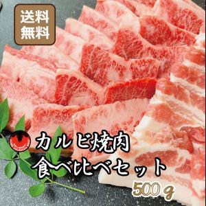 焼肉 牛肉 肉 豚肉 バーベキュー カルビ 食べ比べ セット 500g 国産 焼き肉 送料込み|kobeusunaga