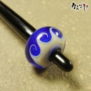 かんざしや とんぼ玉 かんざし 波 青 現品限り 1点もの 髪飾り ヘアアクセサリー|kochi-bussan