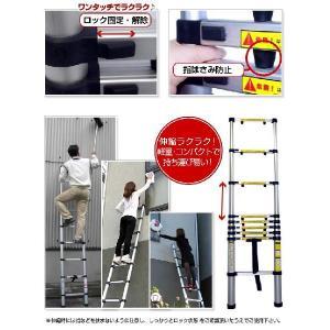 はしご アルミ製 伸縮 はしご ハシゴ 3.2m[安心の一年保証付]  (アルミ はしご/ハシゴ/梯子/伸縮はしご/軽量/コンパクト/送料無料/激安/最大3.2m)|kodawari1|03