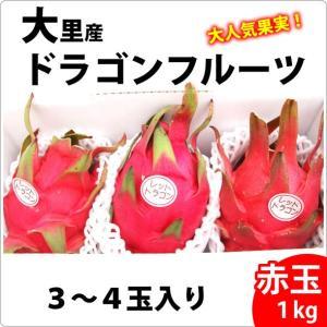 送料無料 大里産ドラゴンフルーツ 赤玉1kg3〜4玉