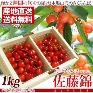(露地栽培)さくらんぼ佐藤錦1kgバラ詰め2Lサイズ(秀−特...