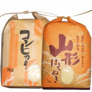 白米 10kg (5kg×2) 山形県産 特栽はえぬき5kg・特栽コシヒカリ5kgセット 米 お米 精米済 令和元年(送料無料)