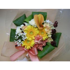 【生花】やさしい黄色オレンジのおまかせアレンジ 母の日 お誕生日 父の日 祝 見舞 供|kodemari-jp