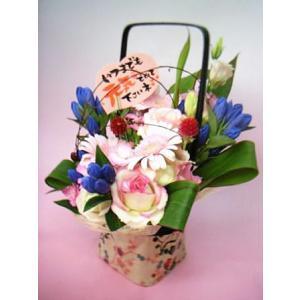 【生花】送料無料★敬老の日に!りんどうの和風花籠 おまかせアレンジ |kodemari-jp