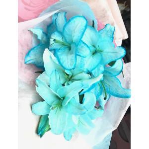 生花 カサブランカ 青の花 ブルー 水色 花束(L) クリスマス 誕生日 祝 開店 周年 舞台 |kodemari-jp