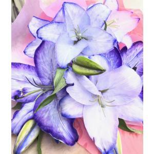 生花 カサブランカ 紫の花 むらさきの花束(L) クリスマス 誕生日 祝 開店 周年 舞台 喜寿 古希 卒寿 パープル |kodemari-jp