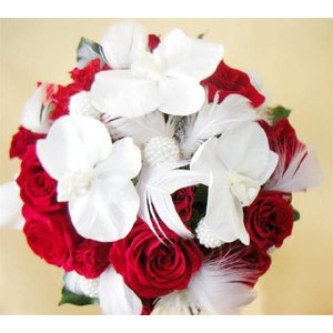 豪華!胡蝶蘭と真紅のバラのリッチアレンジ|kodemari-jp