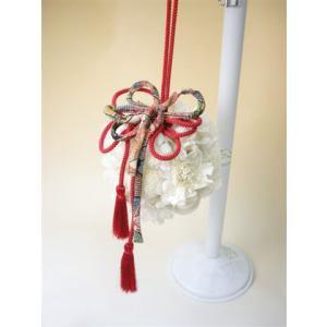 紅白の和風ボールブーケ|kodemari-jp