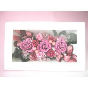 額入り 壁掛け プリザーブドフラワー フレーム アレンジ白 長方形(ピンクのアレンジ)|kodemari-jp