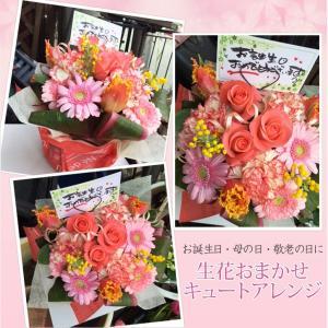【生花】その日のおすすめ花材でお任せ!!キュートアレンジ