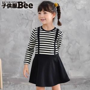 長袖ワンピース 韓国子供服 Bee カジュアル キッズ 女の子 サスペンダー サス ドッキング ボーダー フレア プルオーバー 90 100 110 120 130 140 kodomofuku-bee