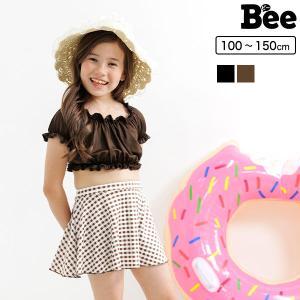 水着 韓国子供服 Bee カジュアル キッズ 女の子 ドット リボン レース フリル ストライプ ボーダー ワンショル ビキニ 夏 90 100 110 120 130 140