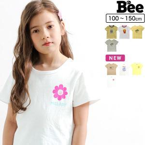 韓国子供服 韓国子ども服 韓国こども服 Bee 女の子 男の子 カジュアル キッズ  ロゴ プリントT 春 夏 秋  100 110 120 130 140 150 半袖トップス|kodomofuku-bee