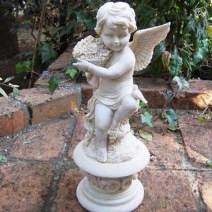 天使のオブジェ エンジェルローズ 庭 置物 エレガント イングリッシュガーデン ハーブ園|kodomor
