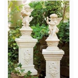 イングリッシュガーデン 天使&花台 1セット エンジェル たて琴 エレガント 置物 品切れになりました。8月中旬入荷予定です|kodomor
