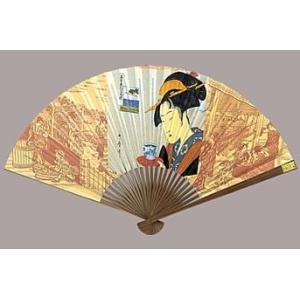 マジック扇子 歌麿 お茶美人 おきた  日本のお土産 日本の伝統 浮世絵 唐木 葛飾 扇子 送料無料 sensu utamaro|kodomor