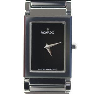 MOVADO モバード スクエアレディース腕時計 黒文字盤 クオーツ 89.C1.1401/中古/MT2921|koera