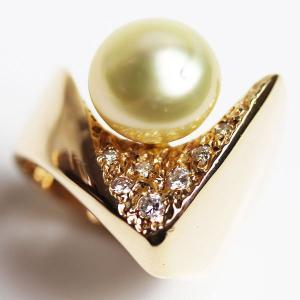 K18 イエローゴールド バロックパール/ダイヤモンドリング レディース指輪 真珠10.4mm ダイヤ付き  D0.15ct 9.4g リング サイズ12号 /中古/MR3214|koera