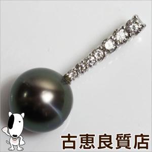 K18WG ペンダント 黒蝶真珠 ホワイトゴールド パール 真珠 10.5mm ダイヤ 0.30ct 2.9g/中古/質屋出店/あすつく|koera