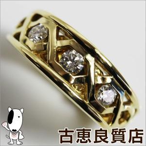 K18 イエローゴールド リング 指輪 ダイヤ0.40ct 8.2g サイズ13.5号/中古/質屋出店/あすつく/MR1024|koera
