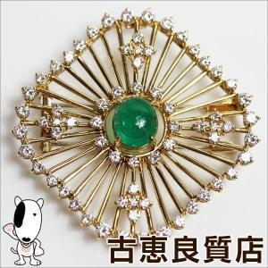 田崎 TASAKI K18 ブローチ エメラルド/ダイヤ2.96 2.88ct 16.8g/中古/質屋出店/あすつく|koera