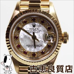 ROLEX ロレックス 69178NMR レディース 腕時計 オイスター パーペチュアル デイトジャスト ミリヤード 11Pルビー K18無垢 シェル文字盤 T番/中古/MT780|koera