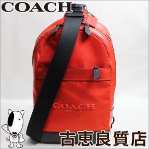 コーチ COACH ボディバッグ メンズ F71972 ナイロン×レザー オレンジ/中古/美品/質屋出店/あすつく|koera