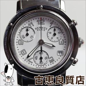 エルメス HERMES クリッパー クロノグラフ CL1 310 腕時計 ホワイト 白 文字盤 アラビア レディース クオーツ/中古/質屋出店/あすつく/MT937 koera