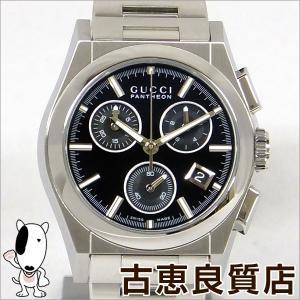 極美品 GUCCI グッチ  パンテオン レディース ボーイズ クォーツ 腕時計 クロノグラフ 黒文字盤 36mm  シルバー/ステンレススチール(SS) YA115406 115.4 (hon)|koera