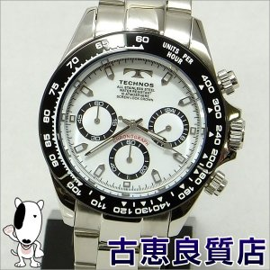 新品・未使用品・買取品 TECHNOS テクノス メンズウォッチ クロノグラフ  腕時計 40mm 10気圧防水 メンズ QZ クォーツ  ホワイト文字盤 TSM411TW(hon)|koera