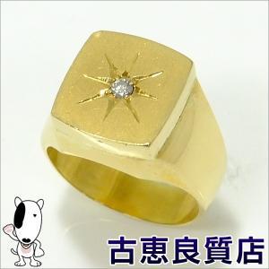 K18 指輪 印台 メンズ D入り 27.1g ダイヤモンド リング サイズ20号 (hon) koera