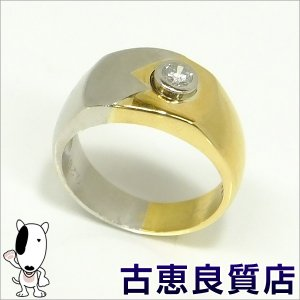 K18/PT 指輪 メンズリング D0.25 12.3g リング サイズ16.5号 (hon)|koera