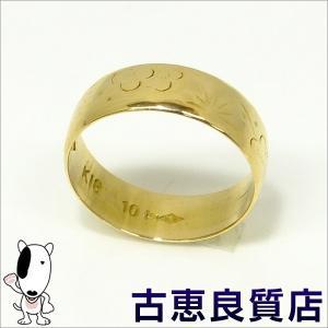 K18 指輪 甲丸 梅柄 リング リングサイズ10号 2.9g(hon)|koera