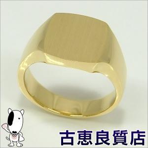未使用品 K18 指輪 印台 メンズ 20.0g リング サイズ21号 (hon)|koera