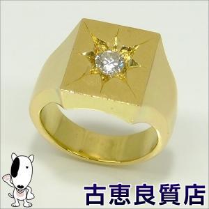 K18 指輪 ダイヤ 印台 D0.516 メンズ 29.6g リング サイズ20号 (hon)|koera