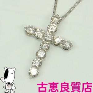 K18WG ホワイトゴールドダイヤモンドネックレス クロス D1.5ct 3.5g 〜45cm 中古(hon)|koera