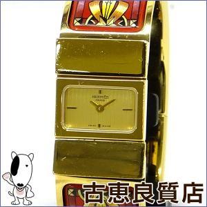 エルメス HERMES ロケ 七宝焼 バングルウォッチ レディース 腕時計 ゴールド文字盤 L01.201 (hon) koera