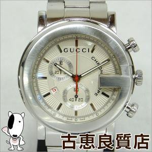 グッチ GUCCI Gフェイス クロノグラフ 101M メンズ マットシルバー文字盤 ギョシェ SS 腕時計 101M クォーツ (hon)|koera