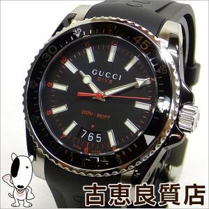 美品 GUCCI グッチ ダイブ コレクション ダイバーズウォッチ メンズ腕時計 ラバーベルト クォーツ YA136303 136.2 黒文字盤 (hon)|koera
