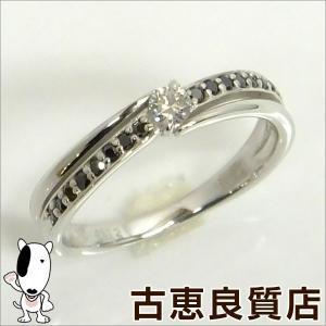 K18WG ホワイトゴールド ダイヤモンドリング 0.1ct 0.12ct ブラックダイヤ 2.7g サイズ11号(hon) koera